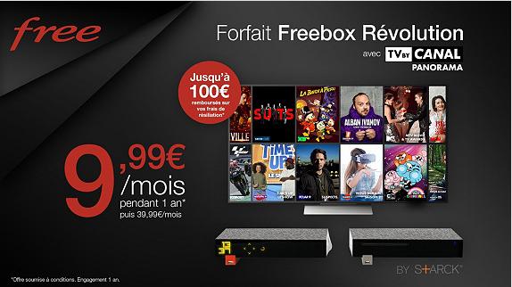 C est parti pour l offre Vente Privée Freebox Révolution avec TV by Canal à  9,99€ mois et 100€ remboursés sur les frais de résiliation af002a0fc4d